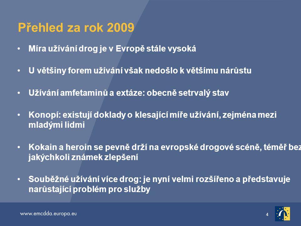 4 Přehled za rok 2009 •Míra užívání drog je v Evropě stále vysoká •U většiny forem užívání však nedošlo k většímu nárůstu •Užívání amfetaminů a extáze