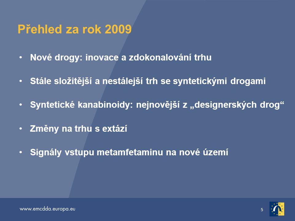 5 Přehled za rok 2009 •Nové drogy: inovace a zdokonalování trhu •Stále složitější a nestálejší trh se syntetickými drogami •Syntetické kanabinoidy: ne