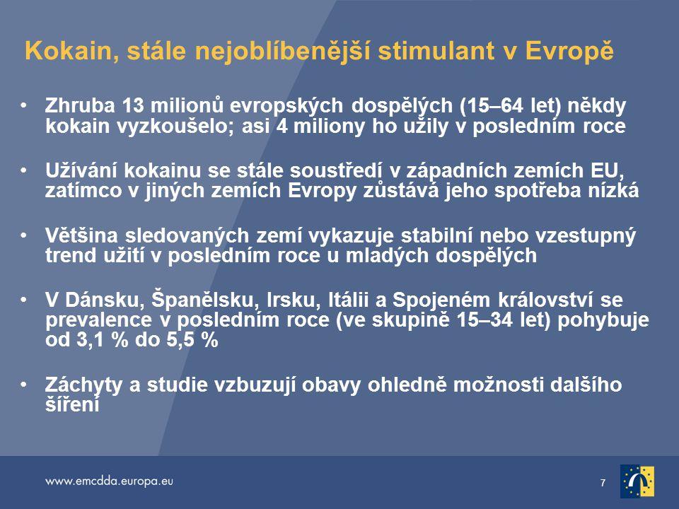 7 Kokain, stále nejoblíbenější stimulant v Evropě •Zhruba 13 milionů evropských dospělých (15–64 let) někdy kokain vyzkoušelo; asi 4 miliony ho užily