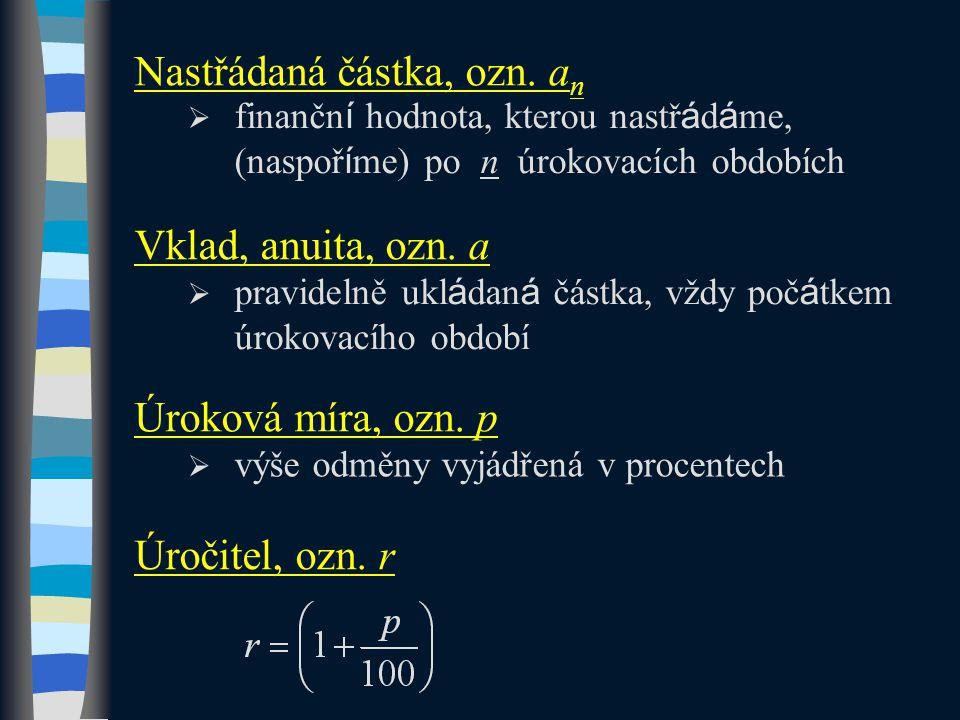 Označení definovaných veličin odpovídá označení v MFCHT: strana 29, Vzorce finanční aritmetiky.