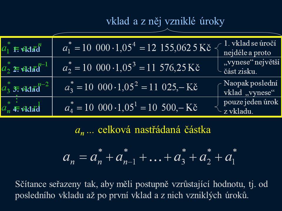 součet n členů GP: a1a1 q Celková nastřádaná částka = ar = r (každý následující sčítanec – člen GP je r krát větší)