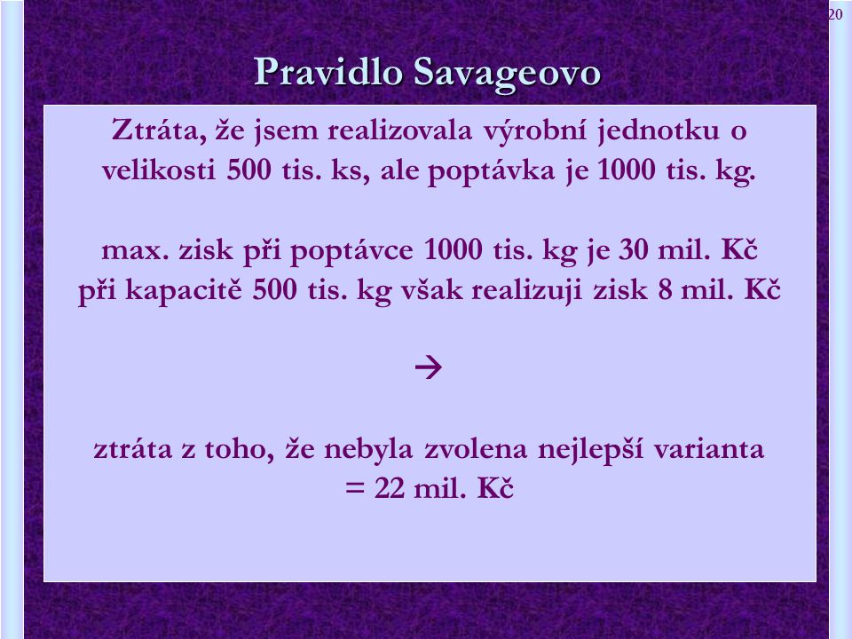 20 Pravidlo Savageovo Ztráta, že jsem realizovala výrobní jednotku o velikosti 500 tis. ks, ale poptávka je 1000 tis. kg. max. zisk při poptávce 1000