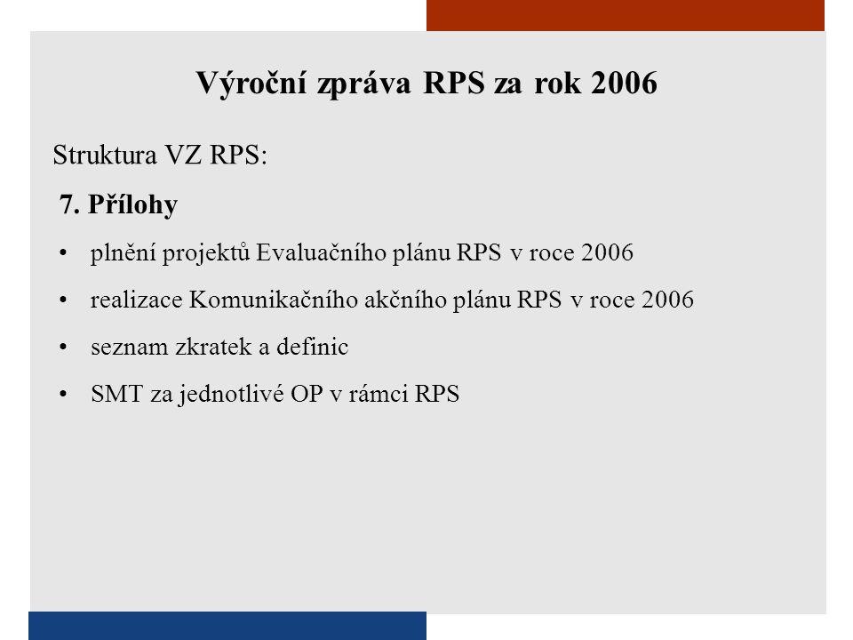 7. Přílohy •plnění projektů Evaluačního plánu RPS v roce 2006 •realizace Komunikačního akčního plánu RPS v roce 2006 •seznam zkratek a definic •SMT za