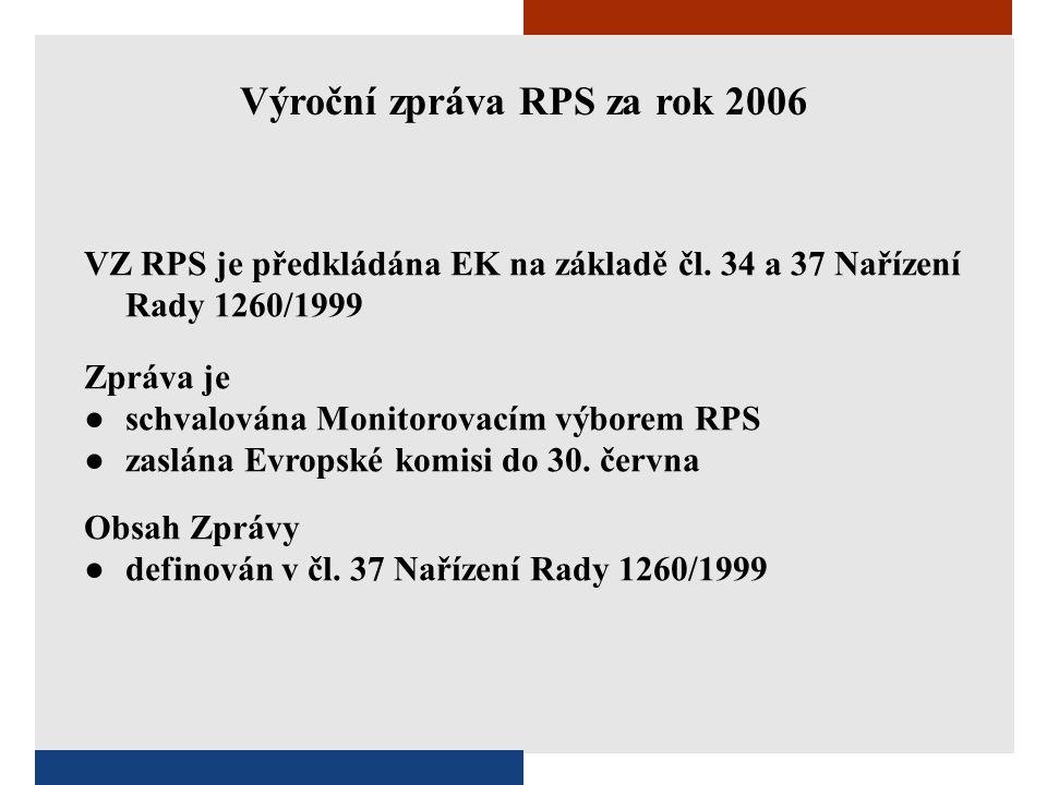 Výroční zpráva RPS za rok 2006 VZ RPS je předkládána EK na základě čl. 34 a 37 Nařízení Rady 1260/1999 Zpráva je ●schvalována Monitorovacím výborem RP