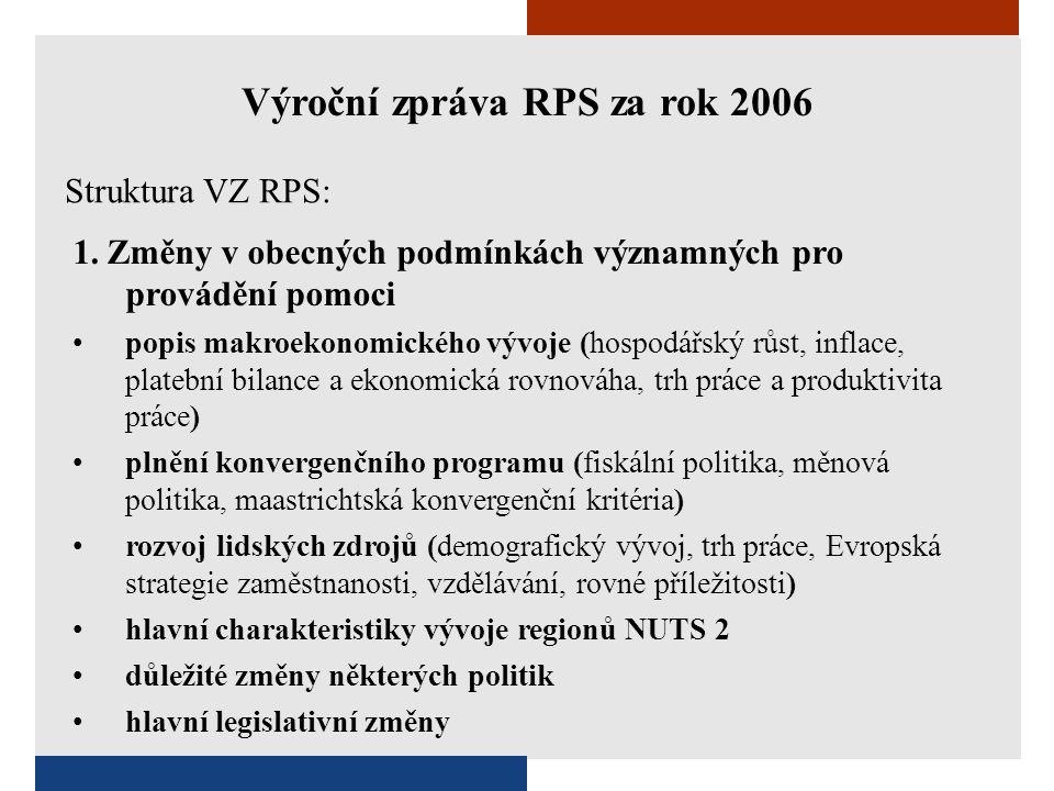 1. Změny v obecných podmínkách významných pro provádění pomoci •popis makroekonomického vývoje (hospodářský růst, inflace, platební bilance a ekonomic