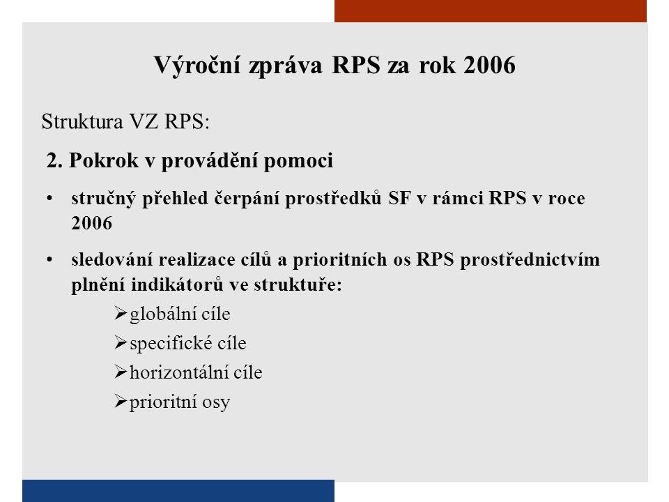 2. Pokrok v provádění pomoci •stručný přehled čerpání prostředků SF v rámci RPS v roce 2006 •sledování realizace cílů a prioritních os RPS prostřednic