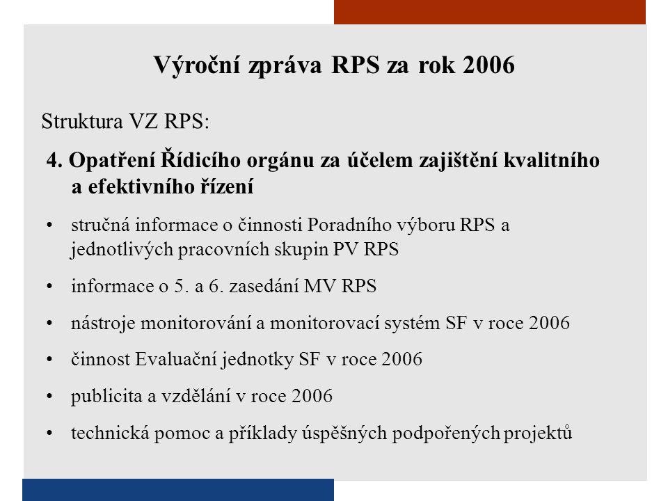 4. Opatření Řídicího orgánu za účelem zajištění kvalitního a efektivního řízení •stručná informace o činnosti Poradního výboru RPS a jednotlivých prac