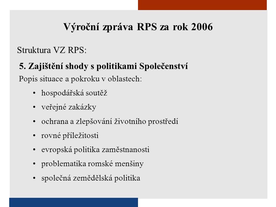 5. Zajištění shody s politikami Společenství Popis situace a pokroku v oblastech: •hospodářská soutěž •veřejné zakázky •ochrana a zlepšování životního
