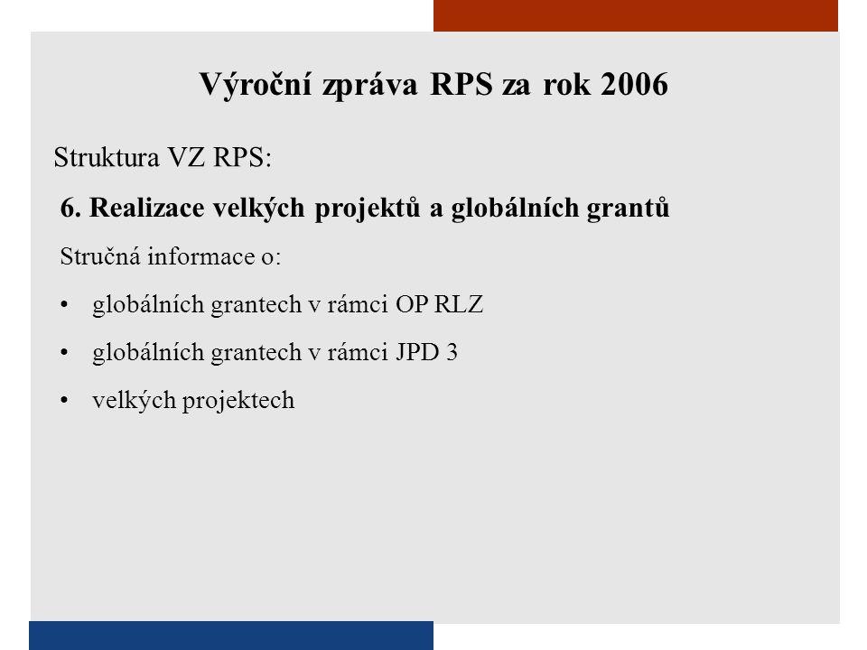 6. Realizace velkých projektů a globálních grantů Stručná informace o: •globálních grantech v rámci OP RLZ •globálních grantech v rámci JPD 3 •velkých