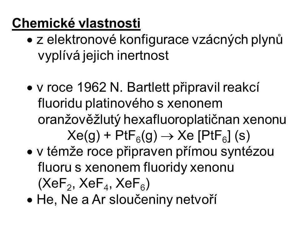 Chemické vlastnosti  z elektronové konfigurace vzácných plynů vyplívá jejich inertnost  v roce 1962 N.