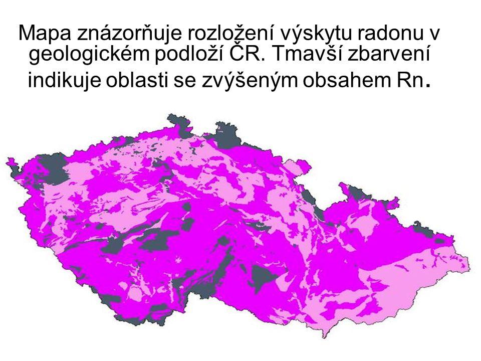 Mapa znázorňuje rozložení výskytu radonu v geologickém podloží ČR.