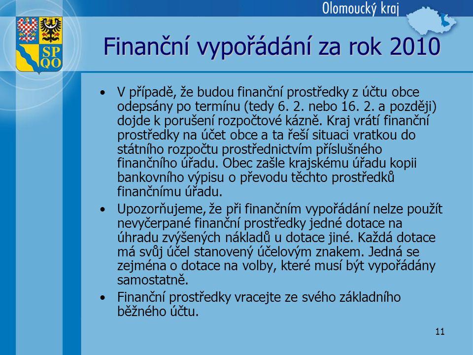 11 Finanční vypořádání za rok 2010 •V případě, že budou finanční prostředky z účtu obce odepsány po termínu (tedy 6.