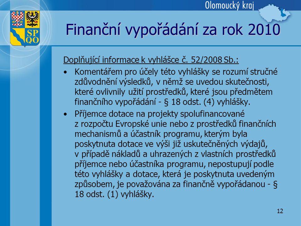 12 Finanční vypořádání za rok 2010 Doplňující informace k vyhlášce č.