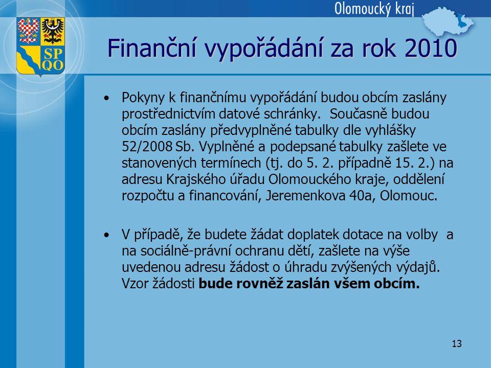 13 Finanční vypořádání za rok 2010 •Pokyny k finančnímu vypořádání budou obcím zaslány prostřednictvím datové schránky.