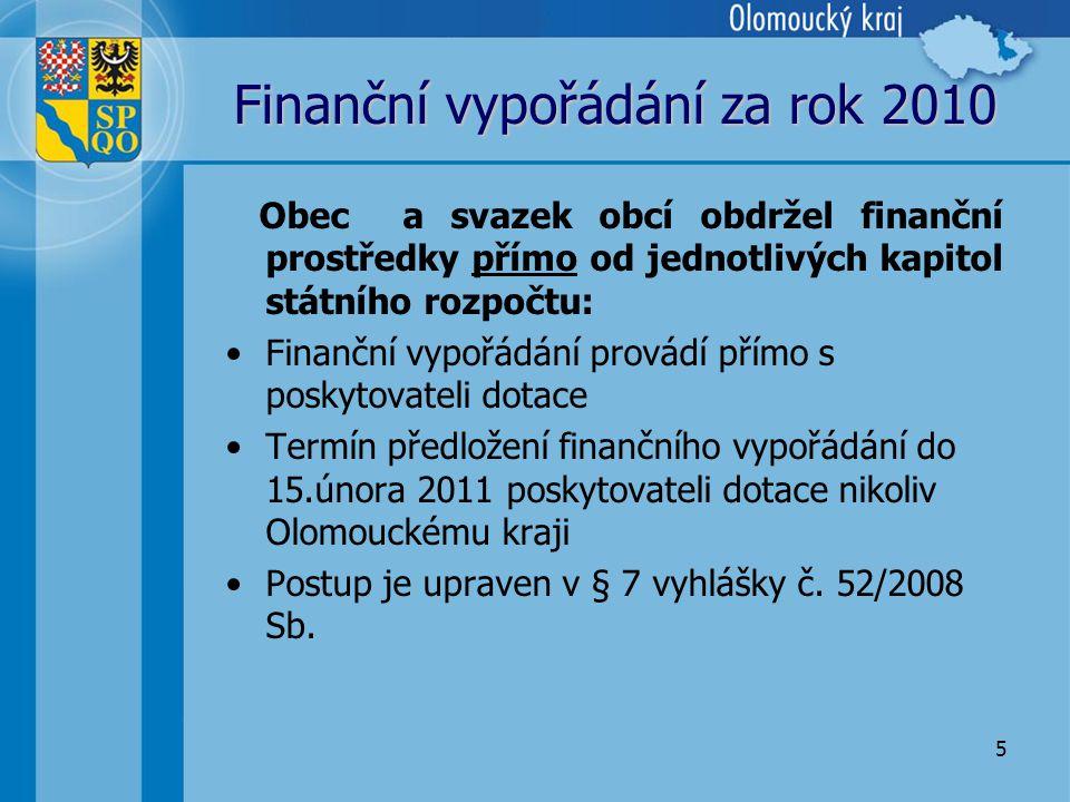 5 Finanční vypořádání za rok 2010 Obec a svazek obcí obdržel finanční prostředky přímo od jednotlivých kapitol státního rozpočtu: •Finanční vypořádání provádí přímo s poskytovateli dotace •Termín předložení finančního vypořádání do 15.února 2011 poskytovateli dotace nikoliv Olomouckému kraji •Postup je upraven v § 7 vyhlášky č.