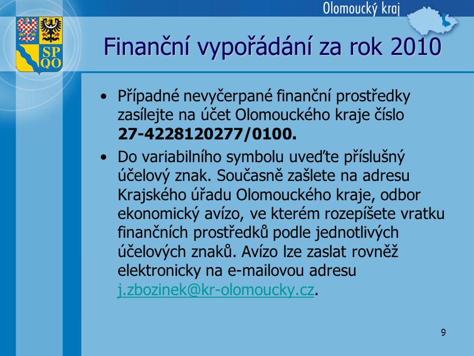 9 Finanční vypořádání za rok 2010 •Případné nevyčerpané finanční prostředky zasílejte na účet Olomouckého kraje číslo 27-4228120277/0100.
