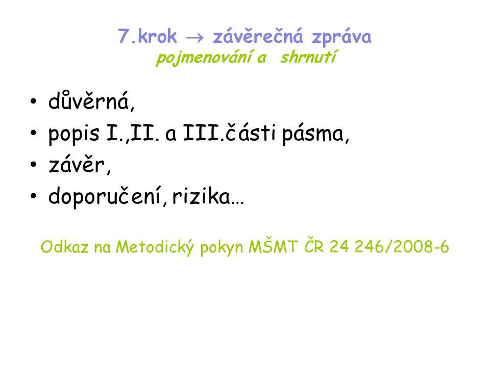 7.krok  závěrečná zpráva pojmenování a shrnutí • důvěrná, • popis I.,II. a III.části pásma, • závěr, • doporučení, rizika… Odkaz na Metodický pokyn M