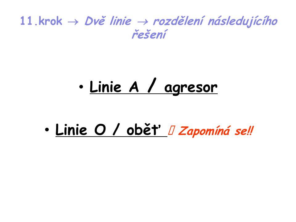 11.krok  Dvě linie  rozdělení následujícího řešení • Linie A / agresor • Linie O / oběť  Zapomíná se!!