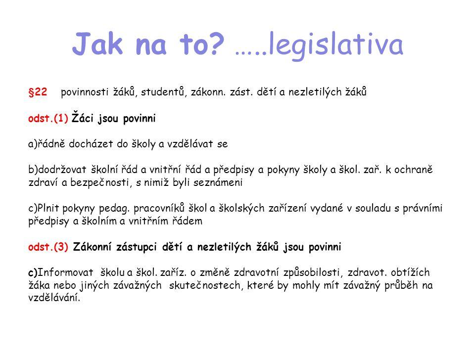 Jak na to? …..legislativa §22 povinnosti žáků, studentů, zákonn. zást. dětí a nezletilých žáků odst.(1) Žáci jsou povinni a)řádně docházet do školy a