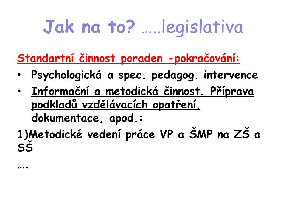 Jak na to? …..legislativa Standartní činnost poraden -pokračování: • Psychologická a spec. pedagog. intervence • Informační a metodická činnost. Přípr