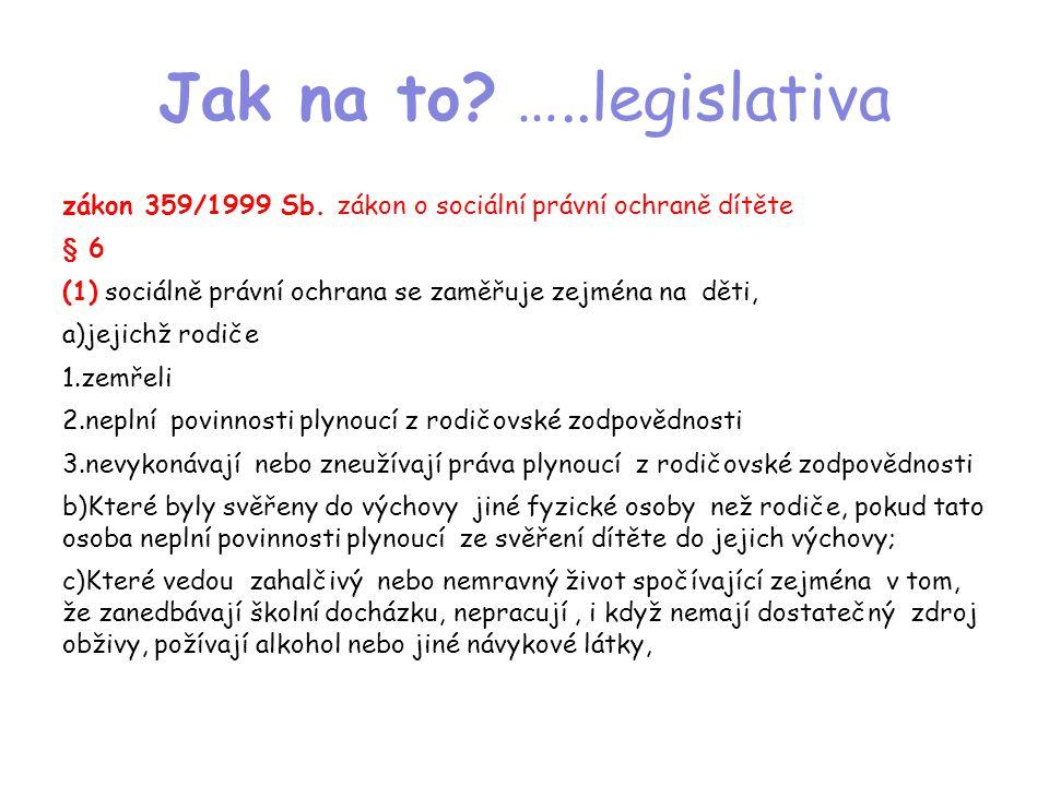 Jak na to? …..legislativa zákon 359/1999 Sb. zákon o sociální právní ochraně dítěte § 6 (1) sociálně právní ochrana se zaměřuje zejména na děti, a)jej