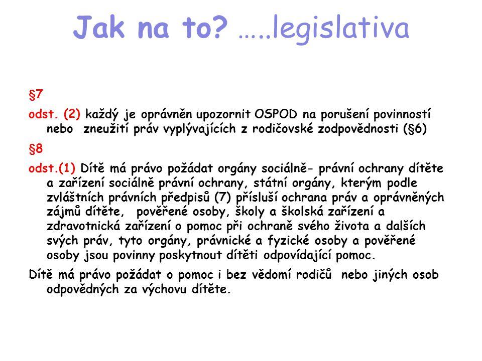 Jak na to? …..legislativa §7 odst. (2) každý je oprávněn upozornit OSPOD na porušení povinností nebo zneužití práv vyplývajících z rodičovské zodpověd