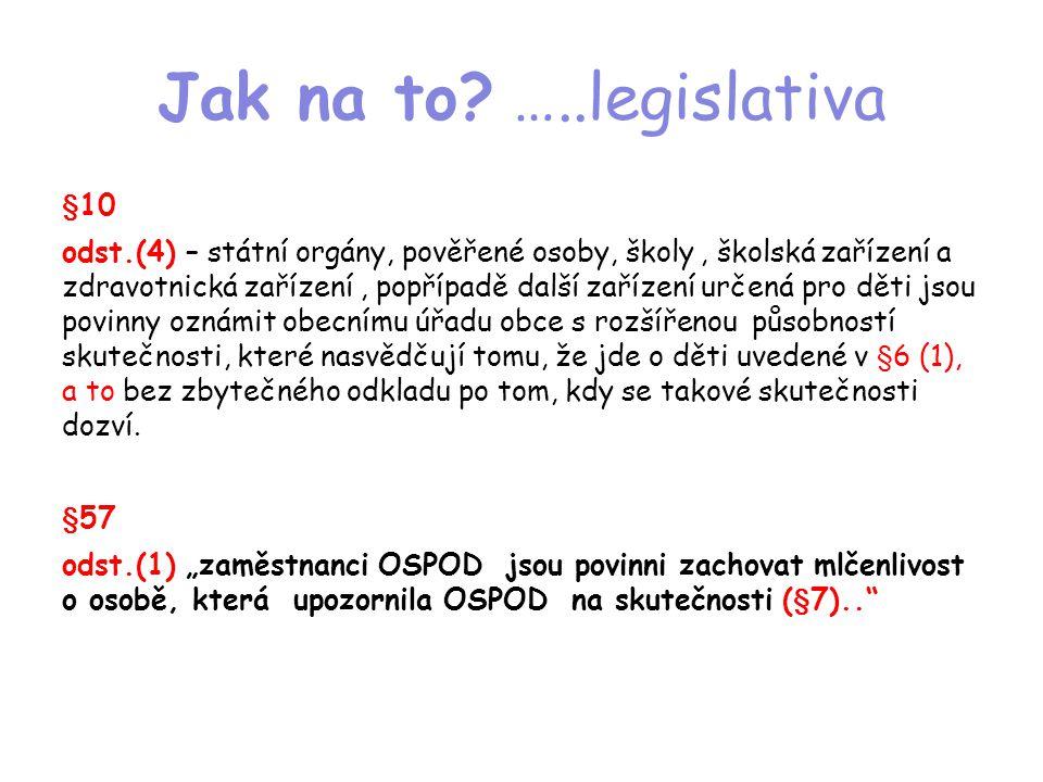 Jak na to? …..legislativa §10 odst.(4) – státní orgány, pověřené osoby, školy, školská zařízení a zdravotnická zařízení, popřípadě další zařízení urče