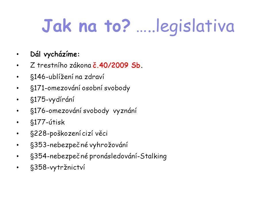 Jak na to? …..legislativa • Dál vycházíme: • Z trestního zákona č.40/2009 Sb. • §146-ublížení na zdraví • §171-omezování osobní svobody • §175-vydírán