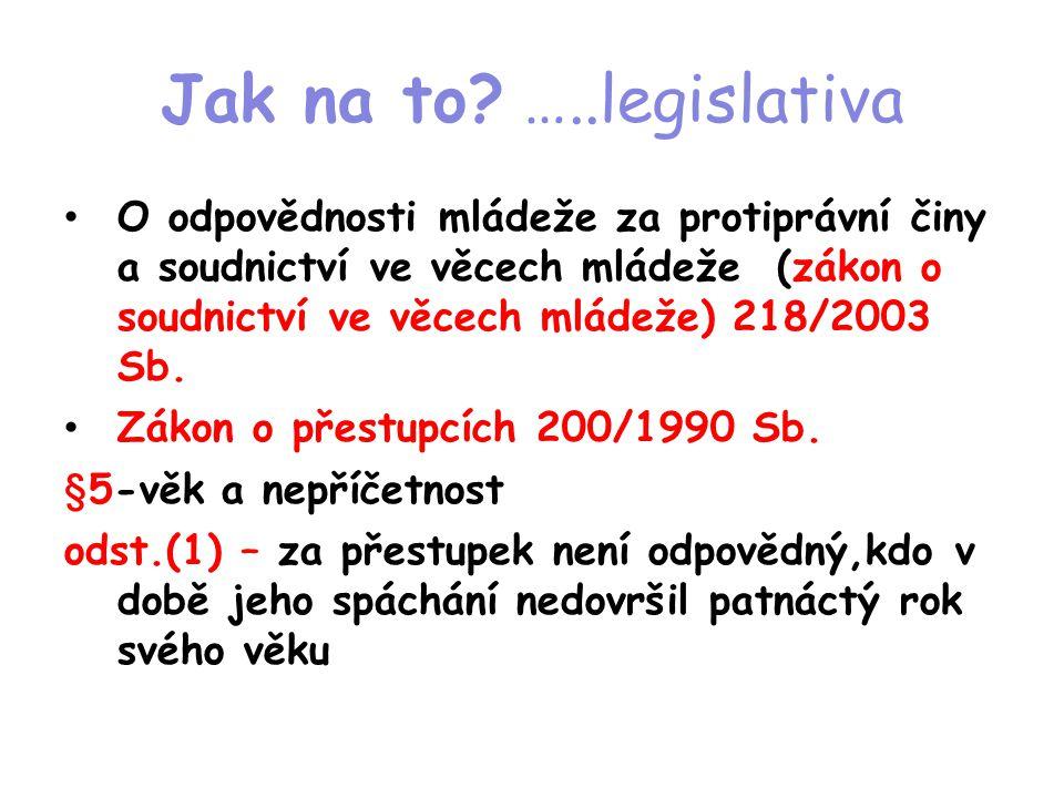 Jak na to? …..legislativa • O odpovědnosti mládeže za protiprávní činy a soudnictví ve věcech mládeže (zákon o soudnictví ve věcech mládeže) 218/2003