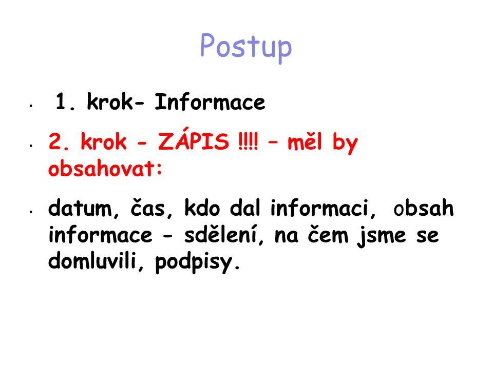 Postup • 1. krok- Informace • 2. krok - ZÁPIS !!!! – měl by obsahovat: • datum, čas, kdo dal informaci, obsah informace - sdělení, na čem jsme se doml