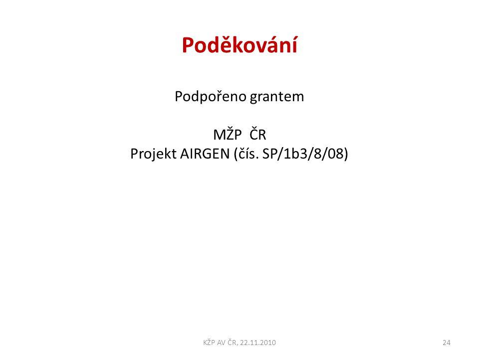 Poděkování Podpořeno grantem MŽP ČR Projekt AIRGEN (čís. SP/1b3/8/08) 24KŽP AV ČR, 22.11.2010