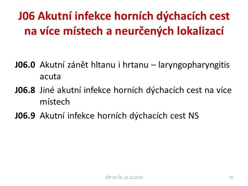J06 Akutní infekce horních dýchacích cest na více místech a neurčených lokalizací J06.0 Akutní zánět hltanu i hrtanu – laryngopharyngitis acuta J06.8J