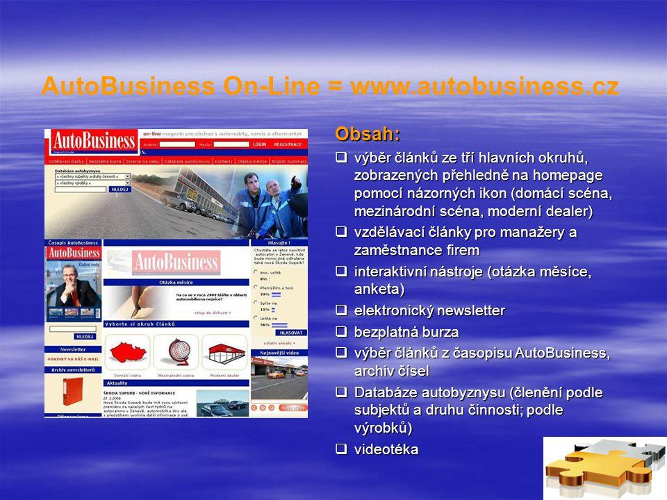 AutoBusiness On-Line = www.autobusiness.cz Obsah:  výběr článků ze tří hlavních okruhů, zobrazených přehledně na homepage pomocí názorných ikon (domácí scéna, mezinárodní scéna, moderní dealer)  vzdělávací články pro manažery a zaměstnance firem  interaktivní nástroje (otázka měsíce, anketa)  elektronický newsletter  bezplatná burza  výběr článků z časopisu AutoBusiness, archiv čísel  Databáze autobyznysu (členění podle subjektů a druhu činnosti; podle výrobků)  videotéka