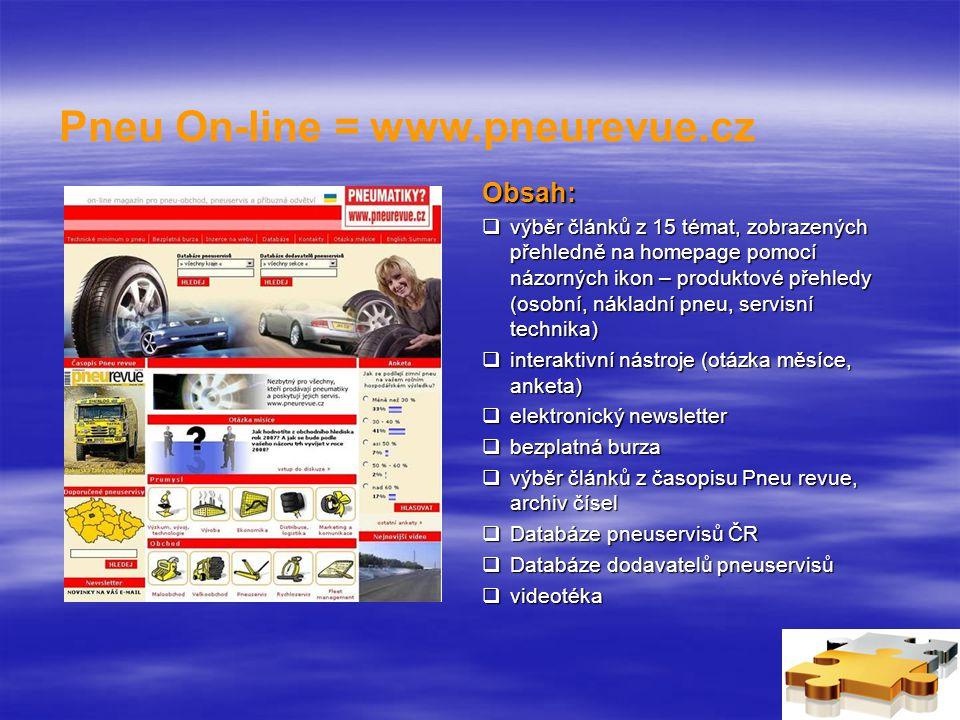 Pneu On-line = www.pneurevue.cz Obsah:  výběr článků z 15 témat, zobrazených přehledně na homepage pomocí názorných ikon – produktové přehledy (osobní, nákladní pneu, servisní technika)  interaktivní nástroje (otázka měsíce, anketa)  elektronický newsletter  bezplatná burza  výběr článků z časopisu Pneu revue, archiv čísel  Databáze pneuservisů ČR  Databáze dodavatelů pneuservisů  videotéka