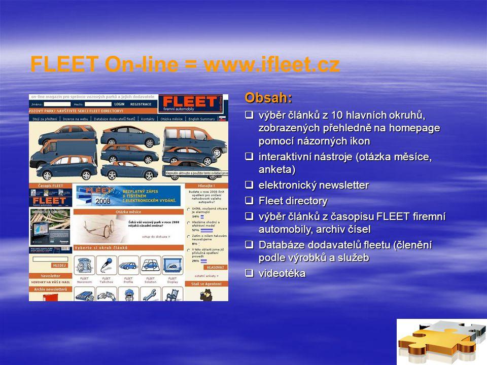 FLEET On-line = www.ifleet.cz Obsah:  výběr článků z 10 hlavních okruhů, zobrazených přehledně na homepage pomocí názorných ikon  interaktivní nástroje (otázka měsíce, anketa)  elektronický newsletter  Fleet directory  výběr článků z časopisu FLEET firemní automobily, archiv čísel  Databáze dodavatelů fleetu (členění podle výrobků a služeb  videotéka