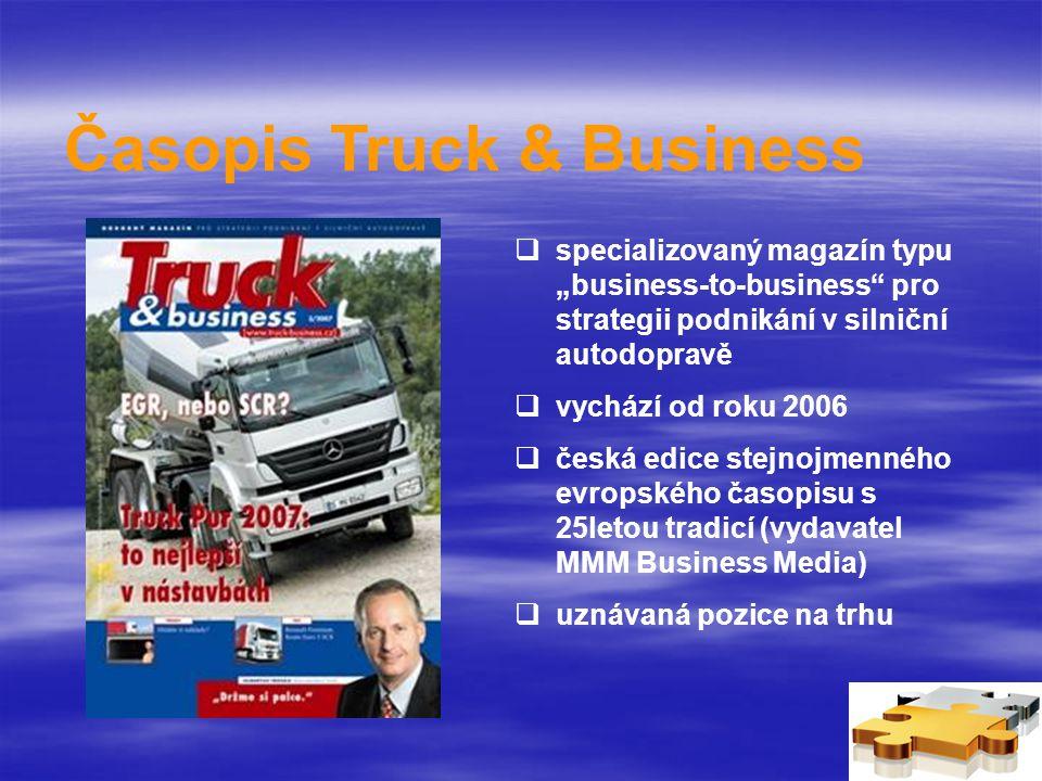 """Časopis Truck & Business  specializovaný magazín typu """"business-to-business pro strategii podnikání v silniční autodopravě  vychází od roku 2006  česká edice stejnojmenného evropského časopisu s 25letou tradicí (vydavatel MMM Business Media)  uznávaná pozice na trhu"""