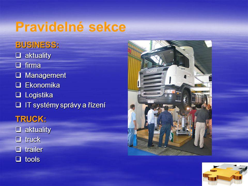 Pravidelné sekce BUSINESS:  aktuality  firma  Management  Ekonomika  Logistika  IT systémy správy a řízení TRUCK:  aktuality  truck  trailer  tools