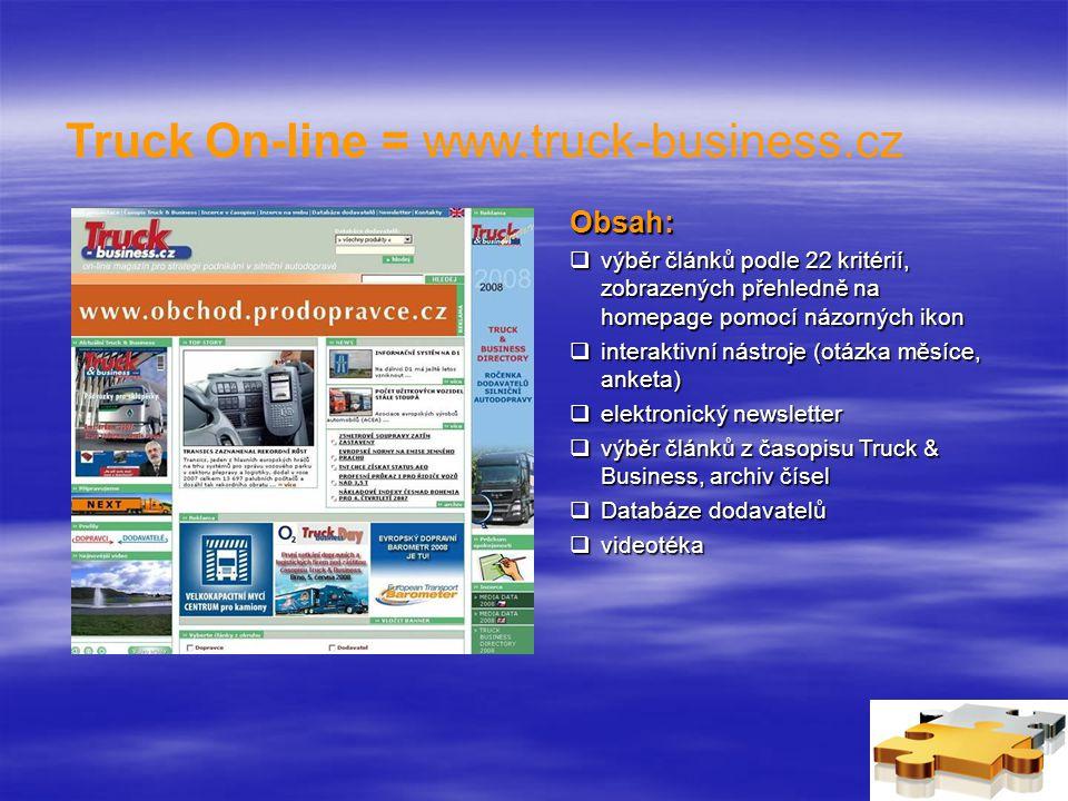 Truck On-line = www.truck-business.cz Obsah:  výběr článků podle 22 kritérií, zobrazených přehledně na homepage pomocí názorných ikon  interaktivní nástroje (otázka měsíce, anketa)  elektronický newsletter  výběr článků z časopisu Truck & Business, archiv čísel  Databáze dodavatelů  videotéka