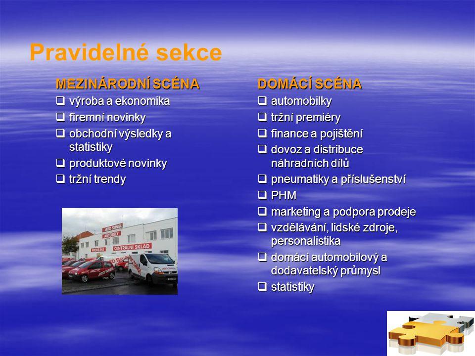 Pravidelné sekce MEZINÁRODNÍ SCÉNA  výroba a ekonomika  firemní novinky  obchodní výsledky a statistiky  produktové novinky  tržní trendy DOMÁCÍ SCÉNA  automobilky  tržní premiéry  finance a pojištění  dovoz a distribuce náhradních dílů  pneumatiky a příslušenství  PHM  marketing a podpora prodeje  vzdělávání, lidské zdroje, personalistika  domácí automobilový a dodavatelský průmysl  statistiky