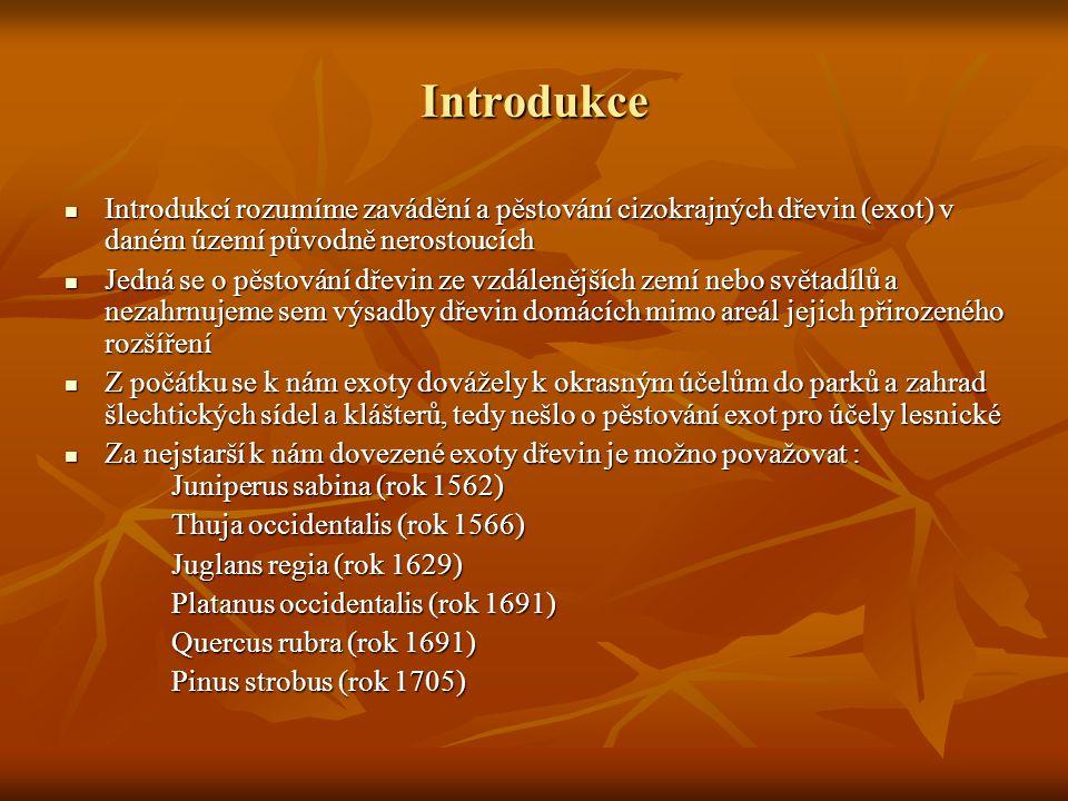 Introdukce  Introdukcí rozumíme zavádění a pěstování cizokrajných dřevin (exot) v daném území původně nerostoucích  Jedná se o pěstování dřevin ze v