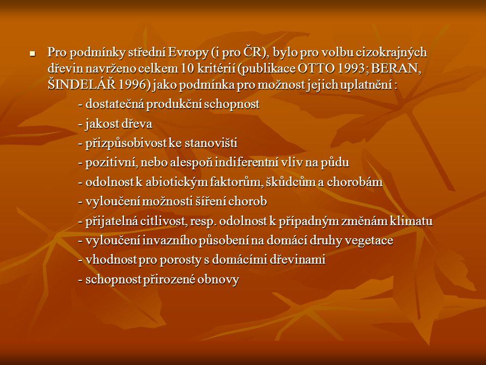  Pro podmínky střední Evropy (i pro ČR), bylo pro volbu cizokrajných dřevin navrženo celkem 10 kritérií (publikace OTTO 1993; BERAN, ŠINDELÁŘ 1996) jako podmínka pro možnost jejich uplatnění : - dostatečná produkční schopnost - jakost dřeva - přizpůsobivost ke stanovišti - pozitivní, nebo alespoň indiferentní vliv na půdu - odolnost k abiotickým faktorům, škůdcům a chorobám - vyloučení možnosti šíření chorob - přijatelná citlivost, resp.