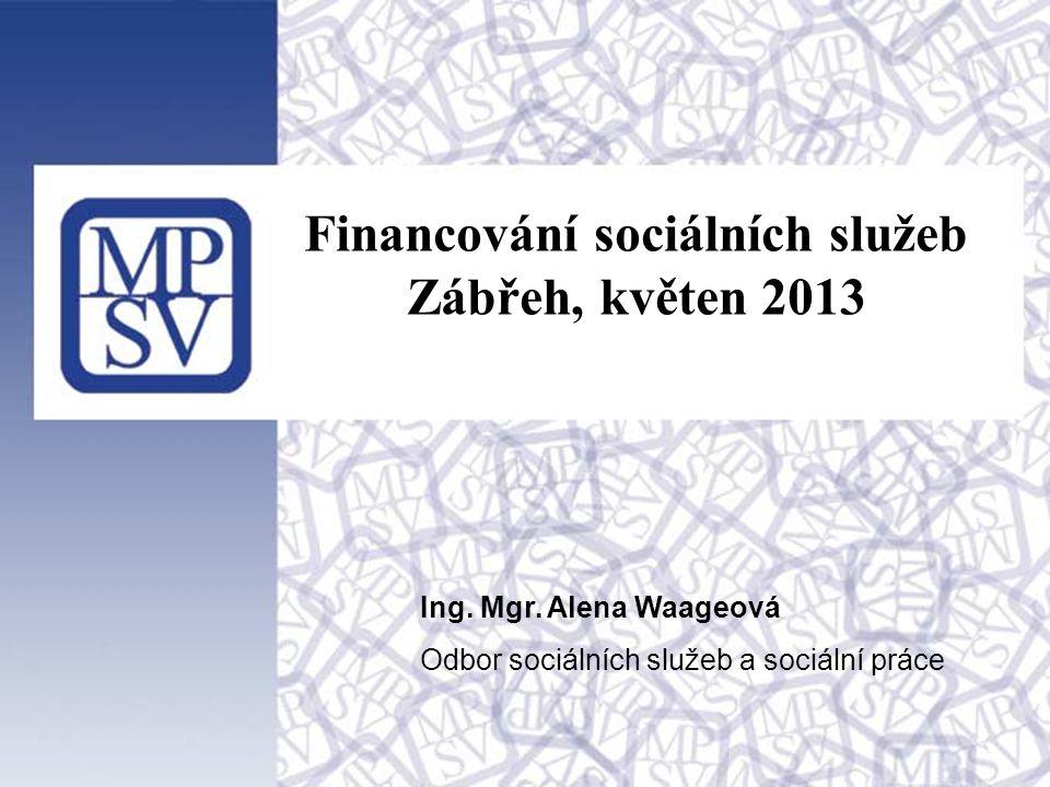 1 Financování sociálních služeb Zábřeh, květen 2013 Ing. Mgr. Alena Waageová Odbor sociálních služeb a sociální práce