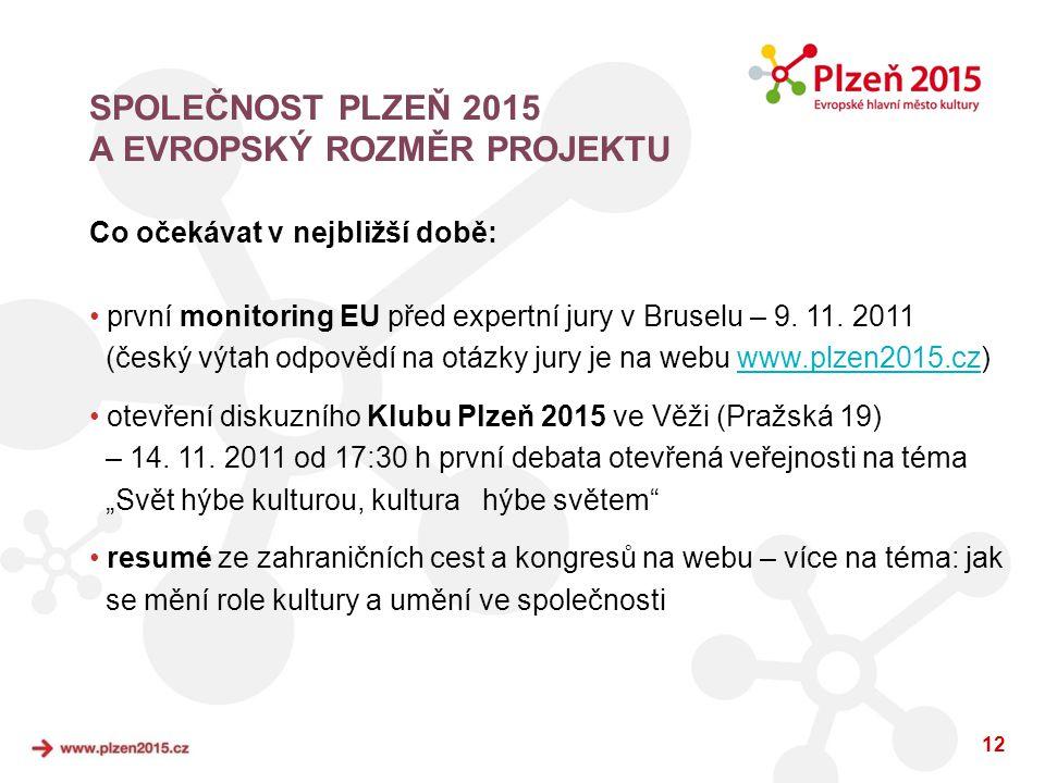 12 Co očekávat v nejbližší době: • první monitoring EU před expertní jury v Bruselu – 9. 11. 2011 (český výtah odpovědí na otázky jury je na webu www.