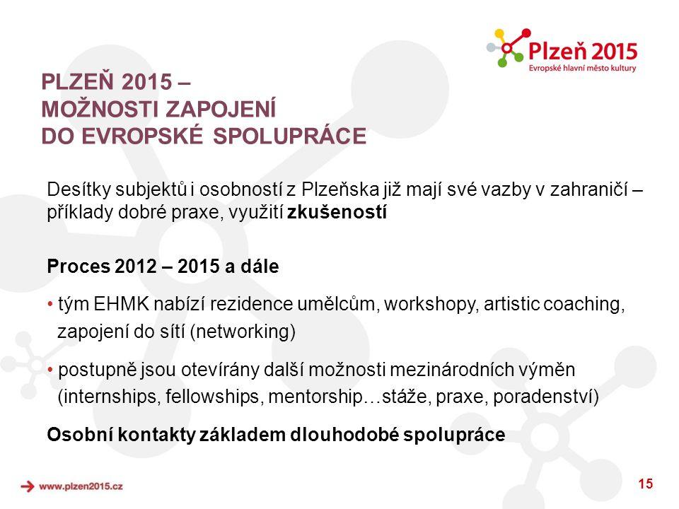 15 PLZEŇ 2015 – MOŽNOSTI ZAPOJENÍ DO EVROPSKÉ SPOLUPRÁCE Desítky subjektů i osobností z Plzeňska již mají své vazby v zahraničí – příklady dobré praxe
