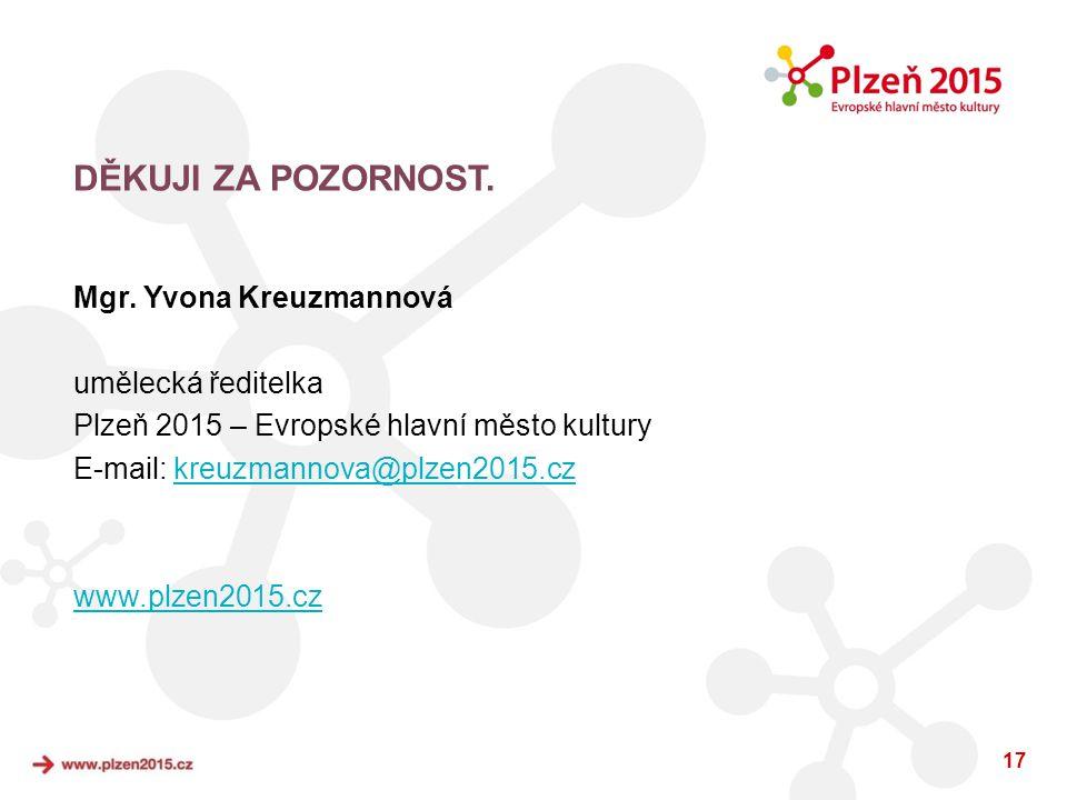 17 DĚKUJI ZA POZORNOST. Mgr. Yvona Kreuzmannová umělecká ředitelka Plzeň 2015 – Evropské hlavní město kultury E-mail: kreuzmannova@plzen2015.czkreuzma