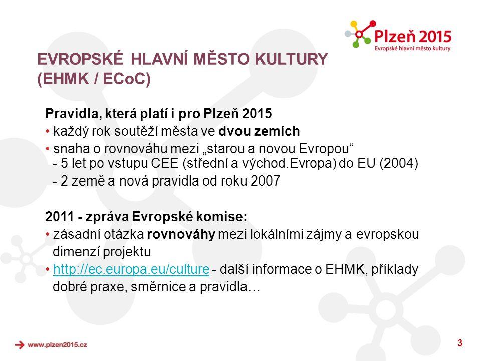 """3 EVROPSKÉ HLAVNÍ MĚSTO KULTURY (EHMK / ECoC) Pravidla, která platí i pro Plzeň 2015 • každý rok soutěží města ve dvou zemích • snaha o rovnováhu mezi """"starou a novou Evropou - 5 let po vstupu CEE (střední a východ.Evropa) do EU (2004) - 2 země a nová pravidla od roku 2007 2011 - zpráva Evropské komise: • zásadní otázka rovnováhy mezi lokálními zájmy a evropskou dimenzí projektu • http://ec.europa.eu/culture - další informace o EHMK, příkladyhttp://ec.europa.eu/culture dobré praxe, směrnice a pravidla…"""