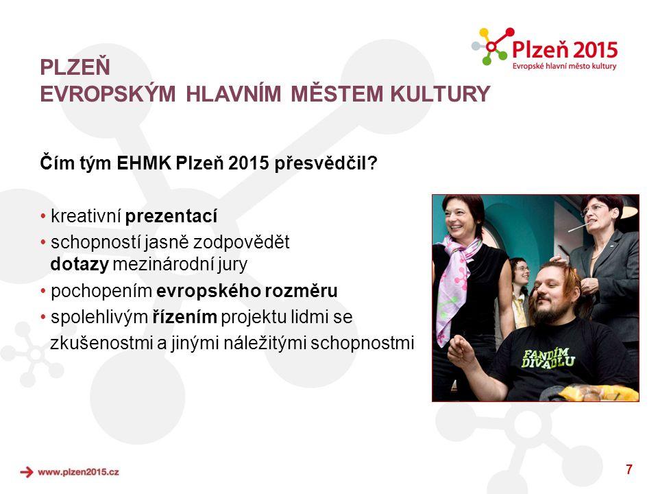 7 Čím tým EHMK Plzeň 2015 přesvědčil? • kreativní prezentací • schopností jasně zodpovědět dotazy mezinárodní jury • pochopením evropského rozměru • s