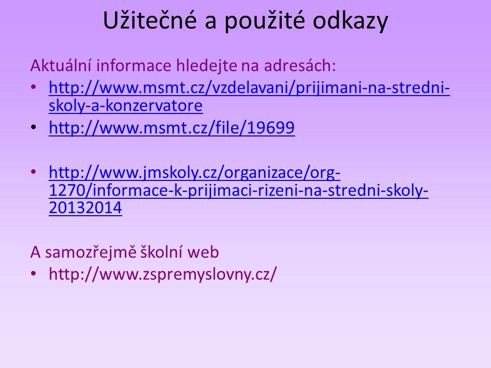 Užitečné a použité odkazy Aktuální informace hledejte na adresách: • http://www.msmt.cz/vzdelavani/prijimani-na-stredni- skoly-a-konzervatore http://w