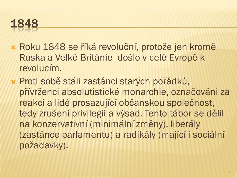  Roku 1848 se říká revoluční, protože jen kromě Ruska a Velké Británie došlo v celé Evropě k revolucím.