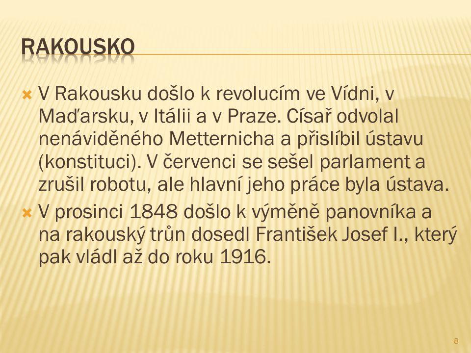  V Rakousku došlo k revolucím ve Vídni, v Maďarsku, v Itálii a v Praze.